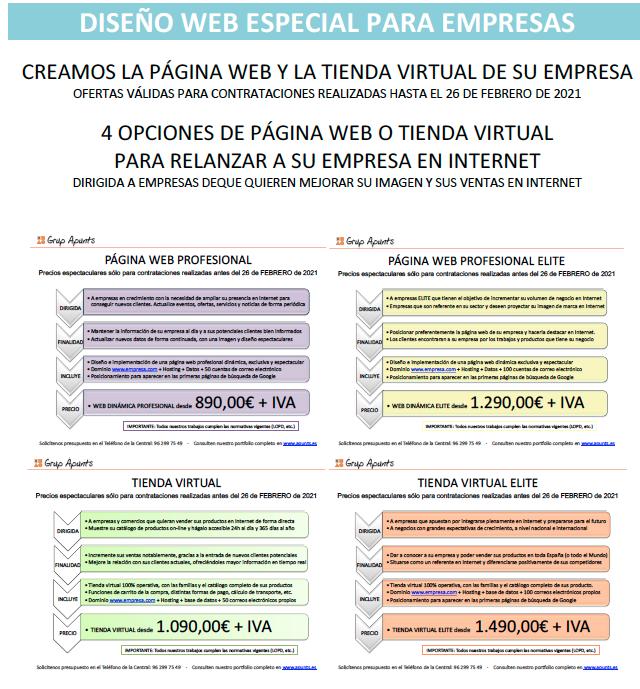 OFERTAS DISEÑO WEB - GRUP_APUNTS FEBRERO 2021